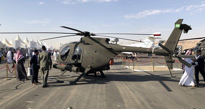طائرة الحرس الوطني اي اتش اكس ساي صناعة أمريكية في معرض السعودية الدولي الأول للطيران