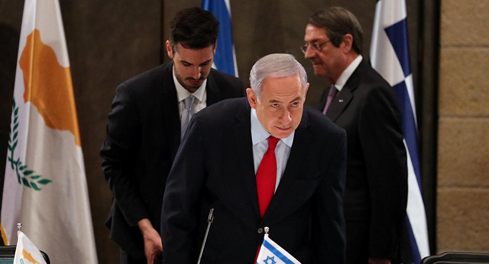 رئيس الوزراء الإسرائيلي بنيامين نتنياهو خلال الاجتماع الرباعي في القدس يوم 20 مارس / آذار 2019