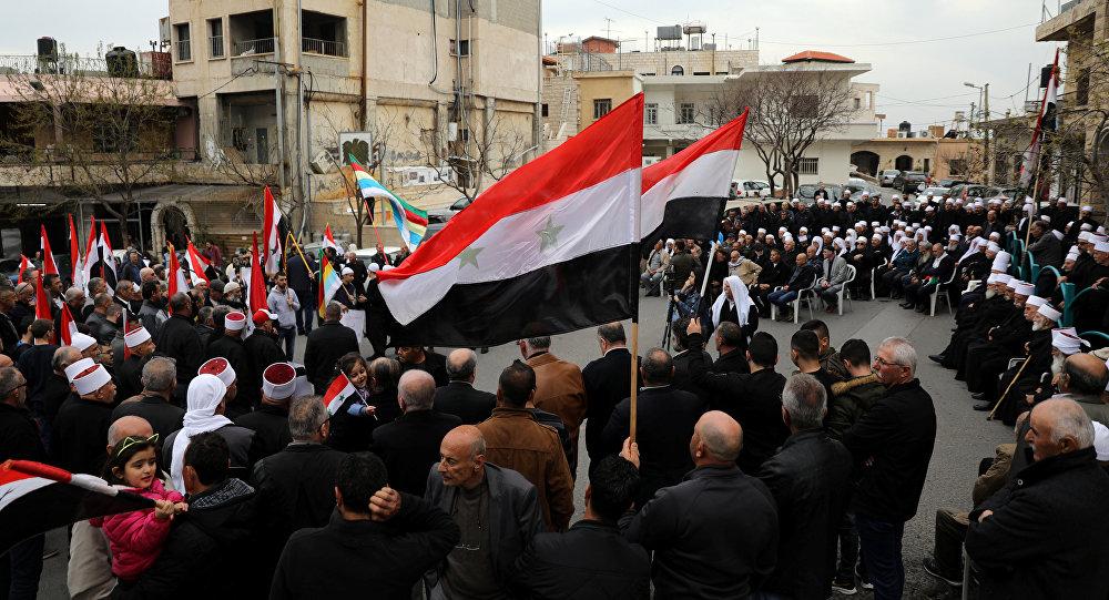 احتجاجات في مجدل شمس استنكارا لتصريحات ترامب حول الجولان السوري المحتل