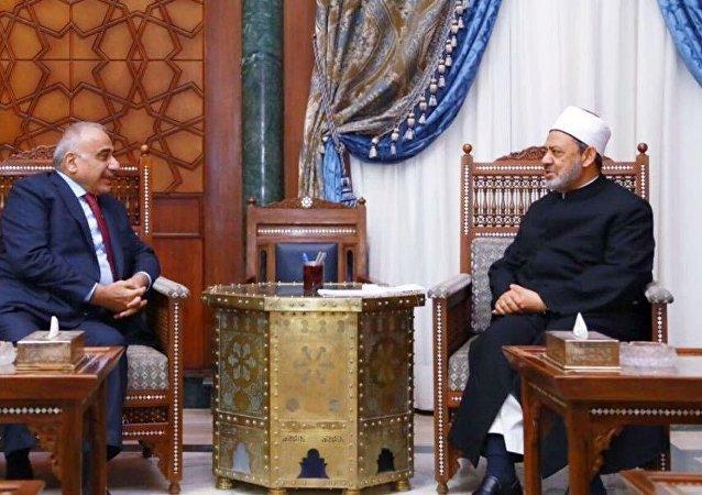 رئيس الوزراء العراقي مع شيخ الأزهر