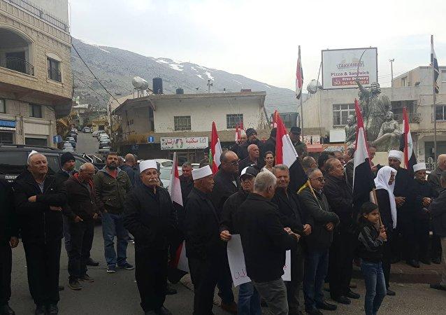 ردود أفعال في الجولان المحتل على تصريحات ترامب حول الاعتراف بالسيادة الإسرائيلية على الجولان السوري المحتل، سوريا 25 مارس/ آذار 2019