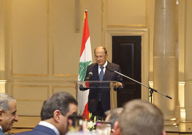 الرئيس اللبناني ميشال عون في قاعة المؤتمرات في فندق فور سيزون في موسكو، 25 مارس/ آذار 2019