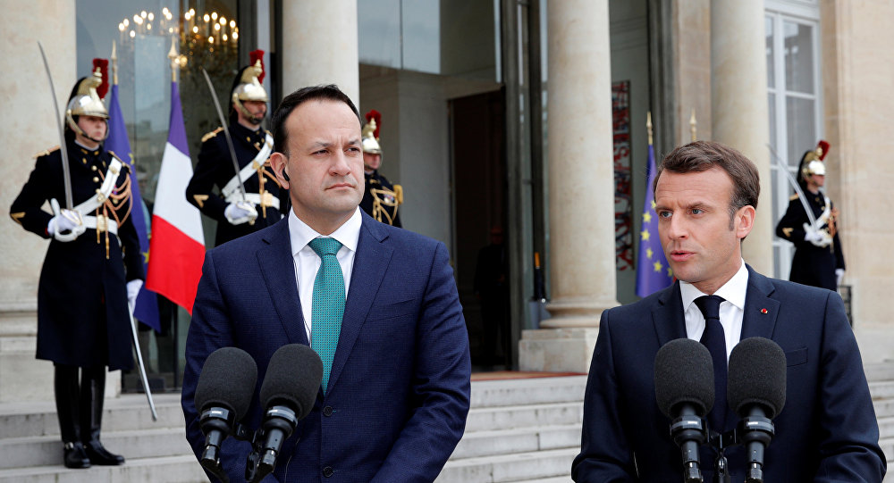 الرئيس الفرنسي إيمانويل ماكرون مع رئيس وزراء أيرلندا ليو فارادكار