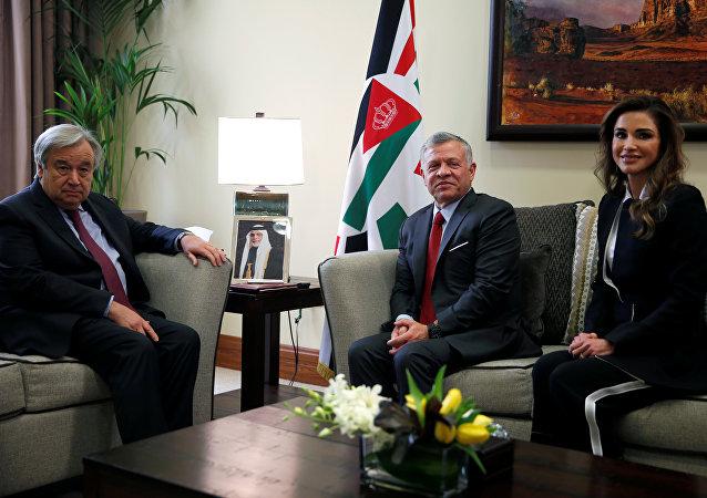 الأمين العام للأمم المتحدة أنطونيو غوتيريش والملك الأردني عبد الله الثاني