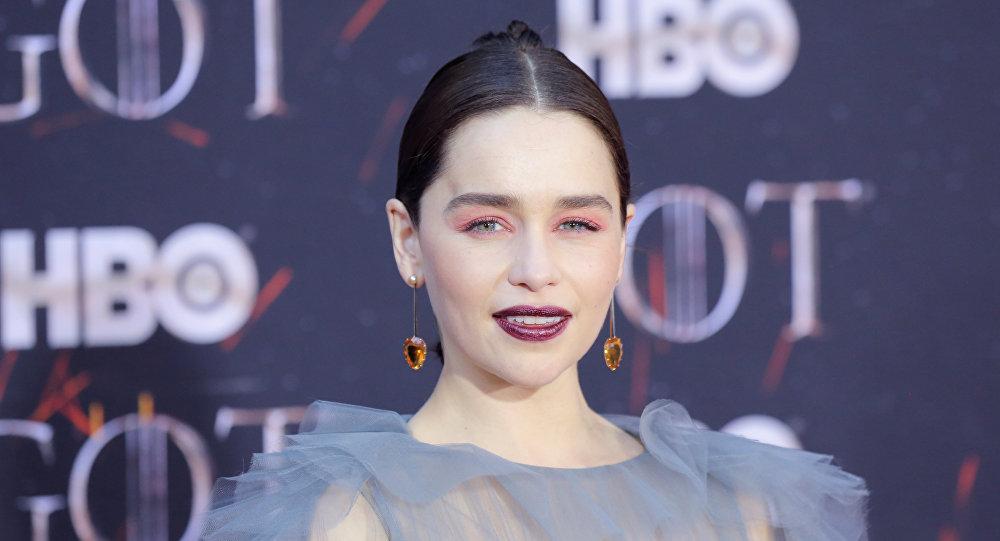 إميليا كلارك في العرض الخاص للموسم الثامن والأخير من مسلسل لعبة العروش، 3 نيسان/أبريل 2019