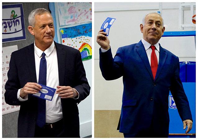 رئيس الوزراء الإسرائيلي بنيامين نتنياهو والجنرال بيني غانتس.