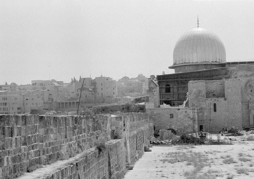 مسجد قبة الصخرة بعد نشوب الحريق فيه عام 1969
