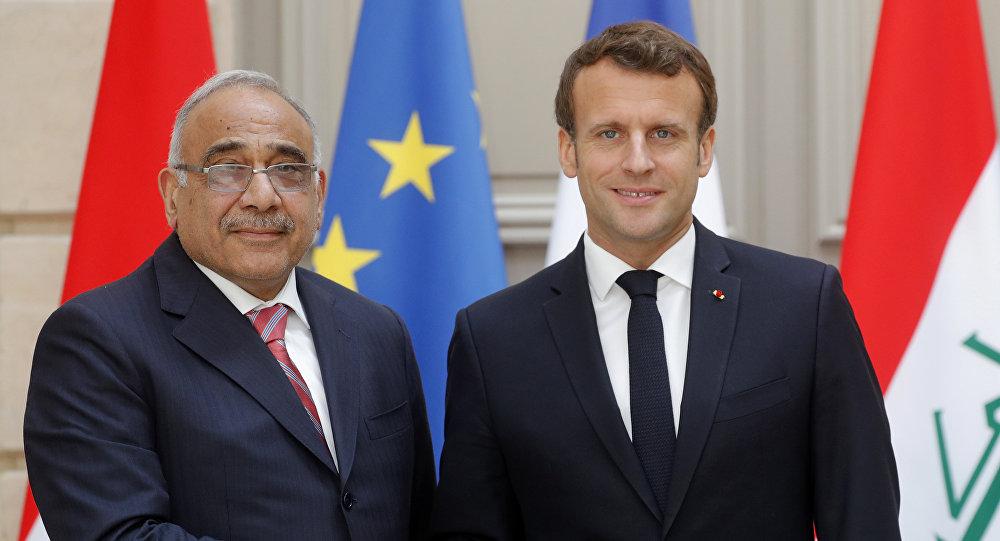الرئيس الفرنسي إيمانويل ماكرون خلال في مؤتمر صحفي مشترك مع رئيس الوزراء العراقي، عادل عبد المهدي