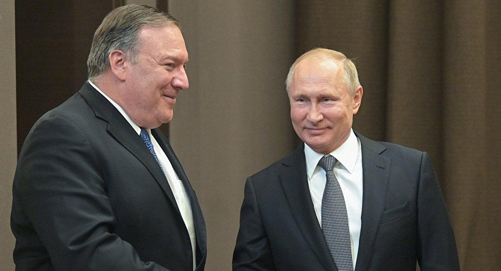 لقاء الرئيس الروسي فلاديمير بوتين مع وزير الخارجية الأمريكي مايك بومبيو