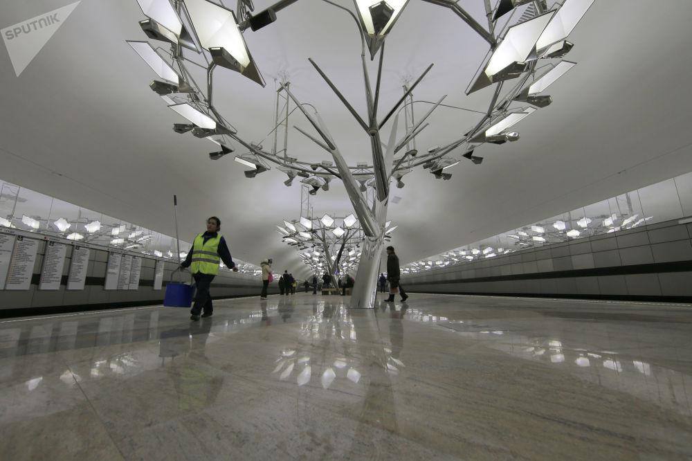 ركاب في محطة مترو تروباريوفا، موسكو 2014