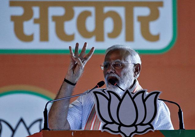 رئيس الوزراء الهندي ناريندرا مودي، مايو/ أيار 2019