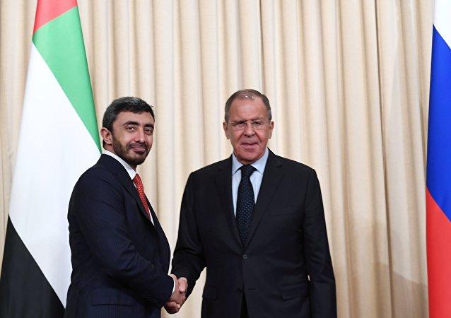 وزير الخارجية الإماراتي عبدالله بن زايد آل نهيان ووزير الخارجية الروسي سيرغي لافروف في موسكو، 26 يونيو/ حزيران 2019