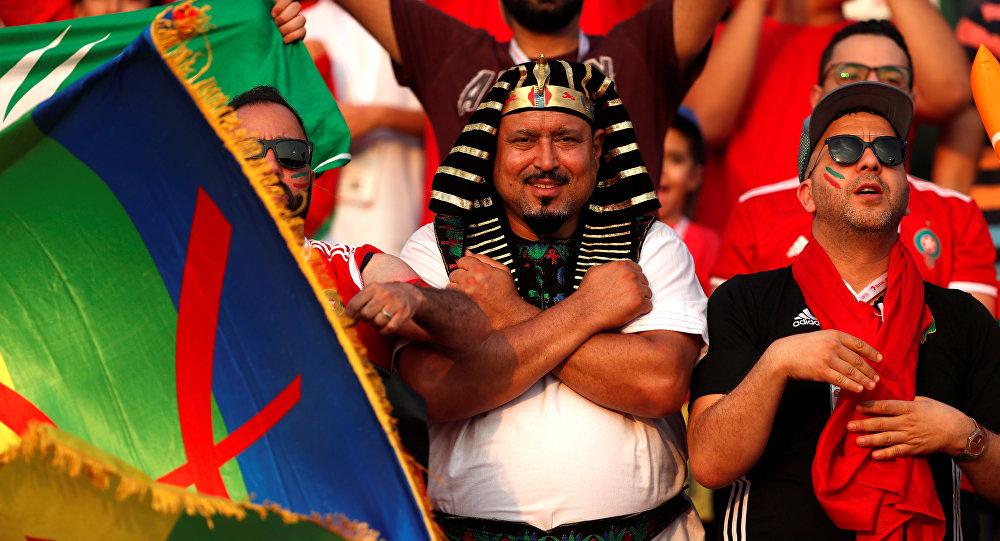 الجماهير في مباراة المغرب وساحل العاج باستاد السلام في القاهرة