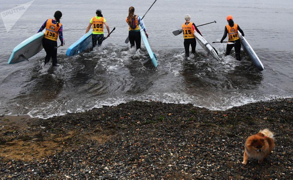 المشاركون في المرحلة الرابعة من بطولة كأس الأمواج القوية (Strong Waves Tour) في ركوب الأمواج في فلاديفوستوك الروسية. والفائز بالبطولة  سيتوجه إلى جولة التصفيات المؤهلة للبطولة الأمواج القوية في موسكو