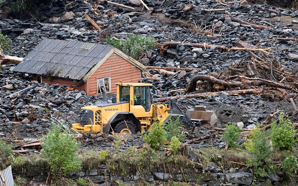 تداعيات انهيار طبقة طينية في مدينة موفيكا، النرويج 31 يوليو/ تموز 2019