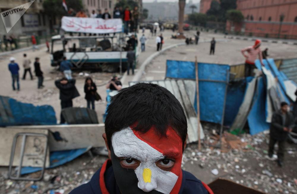 من أنصار المعارضة في ميدان التحيري، القاهرة، مصر 05.02.2011