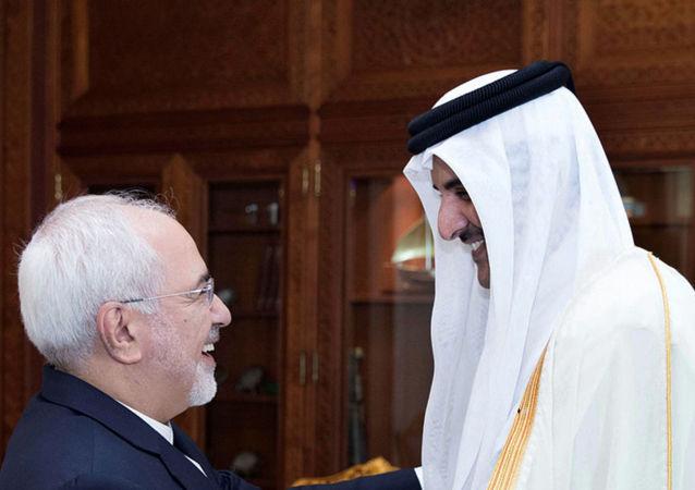 أمير قطر الشيخ تميم بن حمد آل الثاني يلتقي محمد جواد ظريف وزير الخارجية الإيراني
