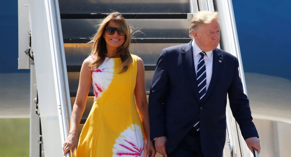 وصول دونالد ترامب وميلانيا ترامب الى قمة السبع الكبار في فرنسا