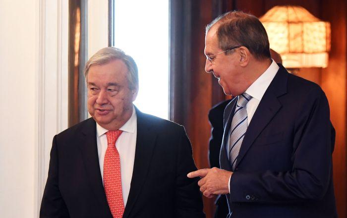 لافروف يبحث مع الأمين العام للأمم المتحدة الوضع في سوريا