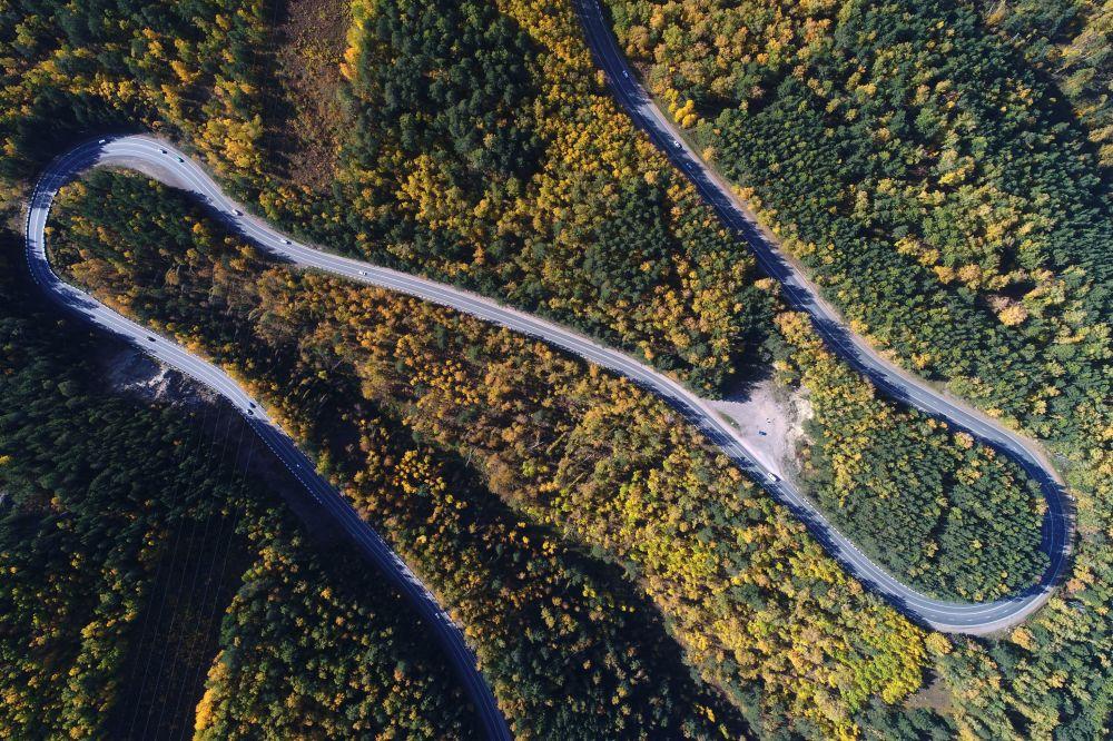 جزء من الطريق السريع الفيدرالي P257 ينيسي في محيط كراسنويارسك الروسية