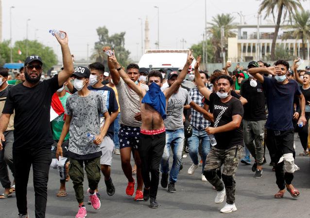المظاهرات في العاصمة العراقية بغداد