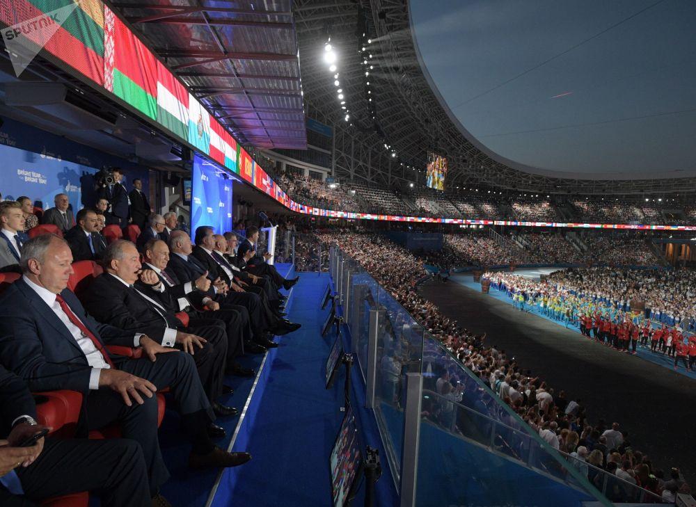 الرئيس الروسي فلاديمير بوتين في الحفل الختامي للألعاب الأوروبية الثانية في مينسك، بيلاروسيا 30 يونيو 2019