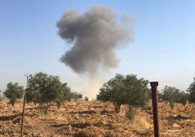 قصف في رأس العين، الحدود السورية التركية، سوريا، تركيا 10 أكتوبر 2019