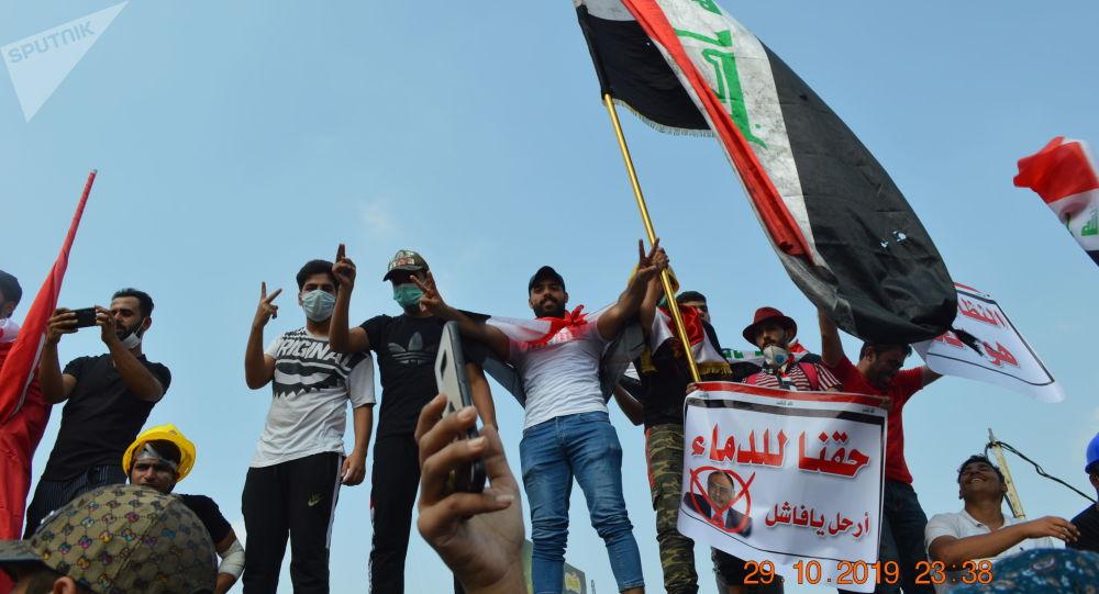 المتظاهرون في ساحة التحرير، بغداد
