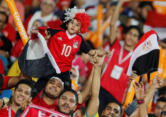 جمهور في استاد القاهرة الدولي يحضرون مباراة منتخب مصر الأولمبي ومنتخب غانا في بطولة أمم أفريقيا تحت 23 عاما، 8 نوفمبر/تشرين الثاني 2019