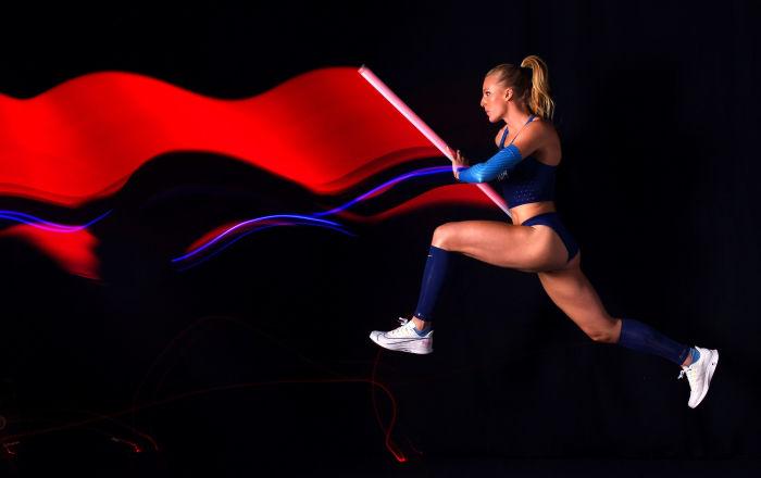 ساندي موريس، رياضية أمريكية، خلال جلسة تصوير لإعلان الألعاب الأولمبية طوكيو 2020 في هوليوود، كاليفورنيا 19 نوفمبر 2019