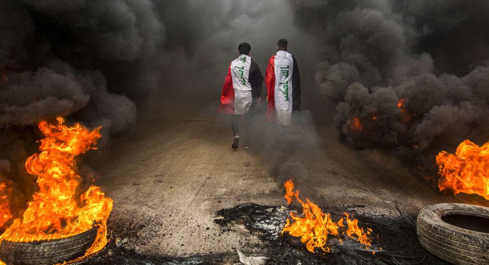 المشاركون في احتجاجات مدينة البصرة، العراق 17 نوفمبر 2019