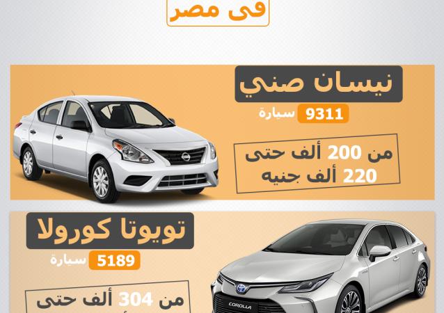 إنفوجرافيك - أسعار أكثر 10 سيارات مبيعا في مصر