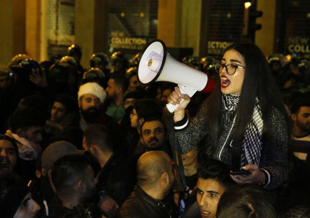 احتجاجات مناهضة للحكومة اللبنانية في بيروت، لبنان 22 ديسمبر 2019