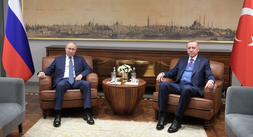 لقاء بين الرئيس الروسي فلاديمير بوتين والرئيس التركي رجب طيب أردوغان