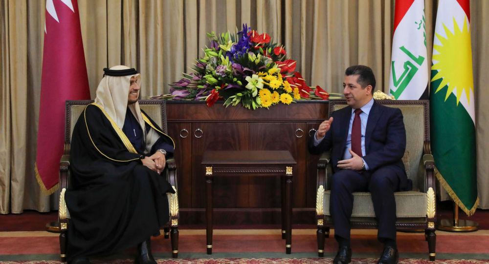 وزير الخارجية القطري الشيخ محمد بن عبد الرحمن آل الثاني، ورئيس إقليم كردستان في شمال العراق نيجيرفان بارزاني