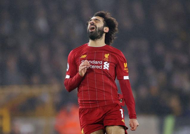 محمد صلاح في مباراة ليفربول ضد ولفر هامبتون، 23 يناير/ كانون الثاني 2020