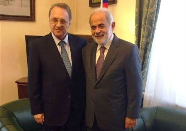 مستشار الرئيس اللبناني للشؤون الروسية أمل أبو زيد ونائب وزير الخارجية الروسي ميخائيل بوغدانوف