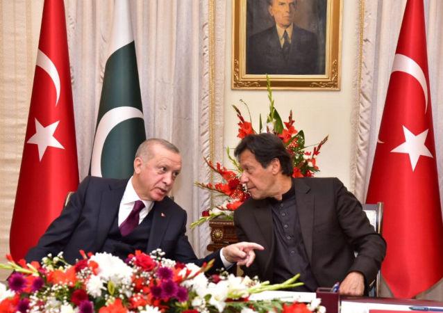 رئيس الوزراء الباكستاني، عمران خان، في مؤتمر صحفي، مع الرئيس التركي رجب طيب أردوغان